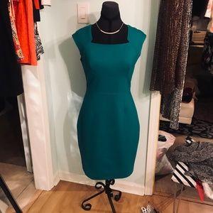Green Satin Lined Tahari Dress Size 6